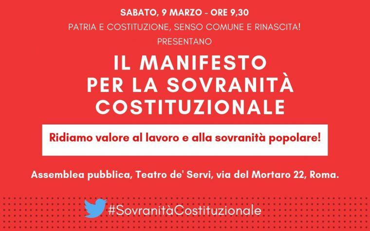 """Manifesto """"Per la sovranità costituzionale"""". Una sfida ardua ma non impossibile."""