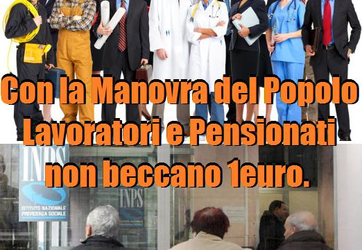 Con la Manovra del Popolo, lavoratori dipendenti e pensionati non beccano un euro! di Nicola Porro