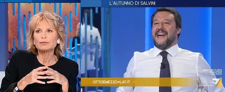 """Ad 'Otto e Mezzo' la Gruber attacca la """"pancia"""" di Salvini."""