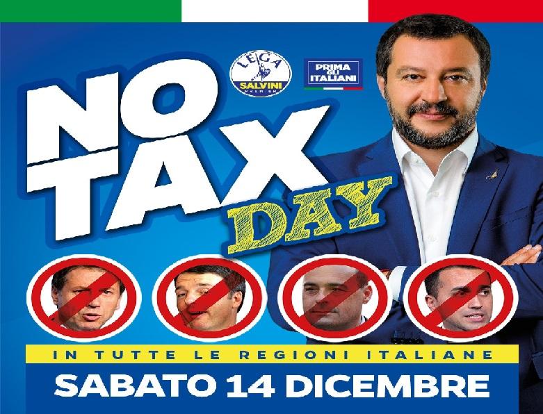 Sabato 14 dicembre. Salvini replica alla 'Piazza' delle sardine con il 'No tax day' della Lega.