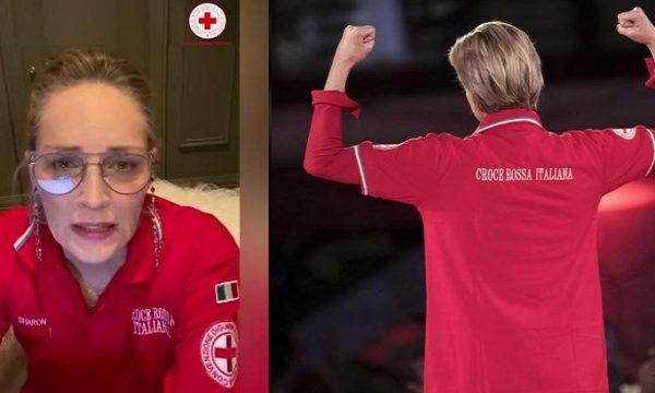 Sharon Stone ringrazia gli 'angeli' della CRI per la lotta al Coronavirus.