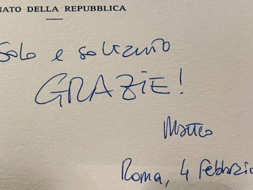 """Renzi: """"Non ho altre parole: grazie!""""."""