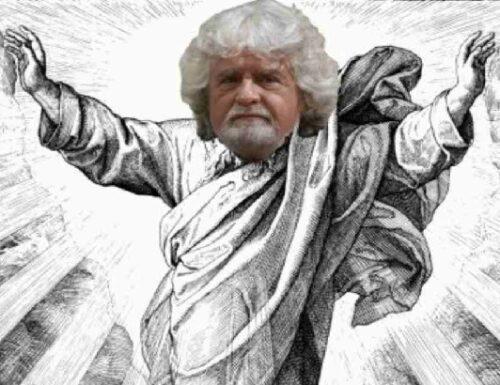 """Beppe Grillo si candida a """"segretario elevato del Pd""""."""