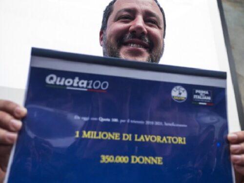 Salvini ripropone un prolungamento di Quota 100.